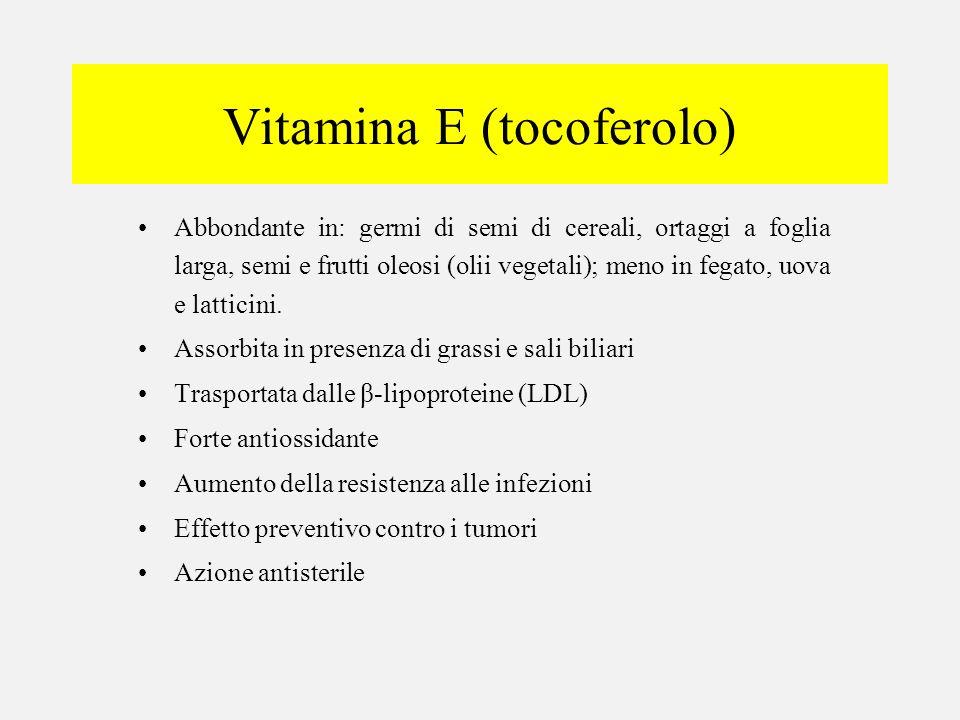 Vitamina E (tocoferolo) Abbondante in: germi di semi di cereali, ortaggi a foglia larga, semi e frutti oleosi (olii vegetali); meno in fegato, uova e