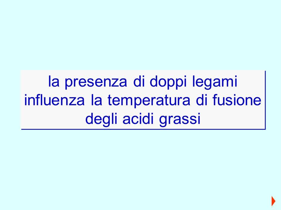 la presenza di doppi legami influenza la temperatura di fusione degli acidi grassi la presenza di doppi legami influenza la temperatura di fusione deg