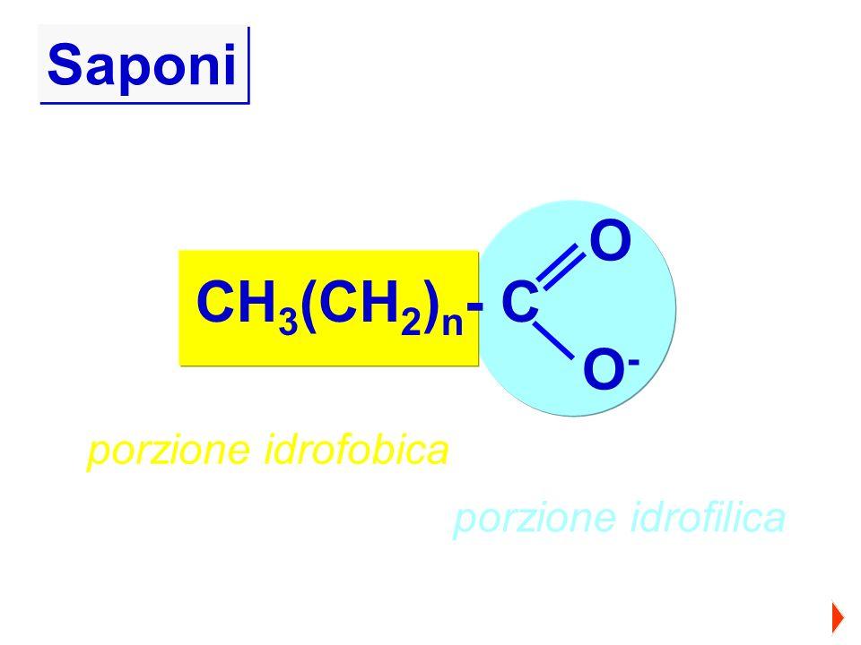 CH 3 (CH 2 ) n - C O O-O- porzione idrofobica porzione idrofilica Saponi