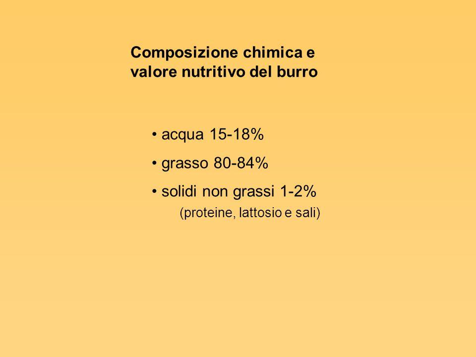 Burri speciali Burro anidro (lipidi 99%) Burro concentrato (lipidi 99,8%) Burro leggero a ridotto tenore di grasso (60-62%) Burro leggero a basso tenore di grasso (39-41%)