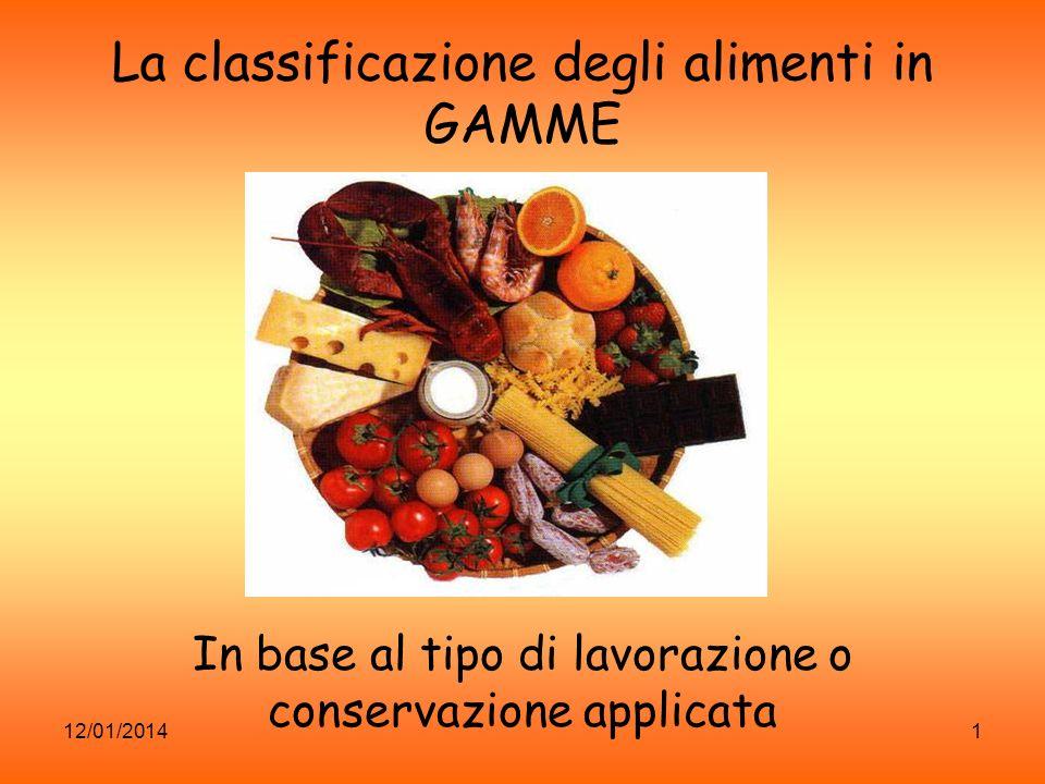 12/01/20141 La classificazione degli alimenti in GAMME In base al tipo di lavorazione o conservazione applicata