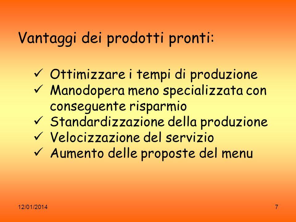 12/01/20147 Vantaggi dei prodotti pronti: Ottimizzare i tempi di produzione Manodopera meno specializzata con conseguente risparmio Standardizzazione