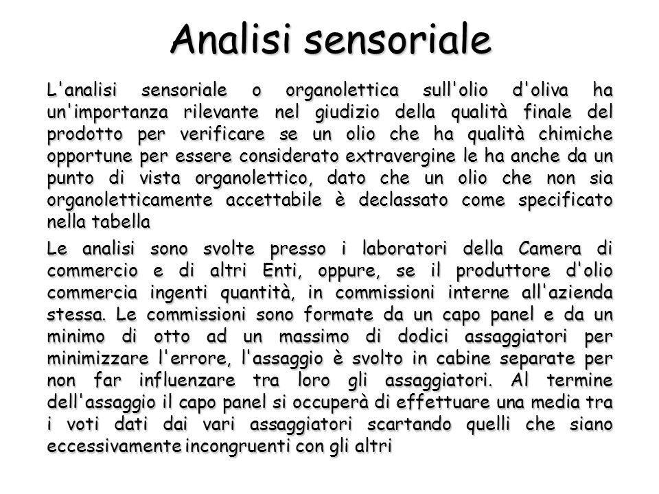 Analisi sensoriale L'analisi sensoriale o organolettica sull'olio d'oliva ha un'importanza rilevante nel giudizio della qualità finale del prodotto pe
