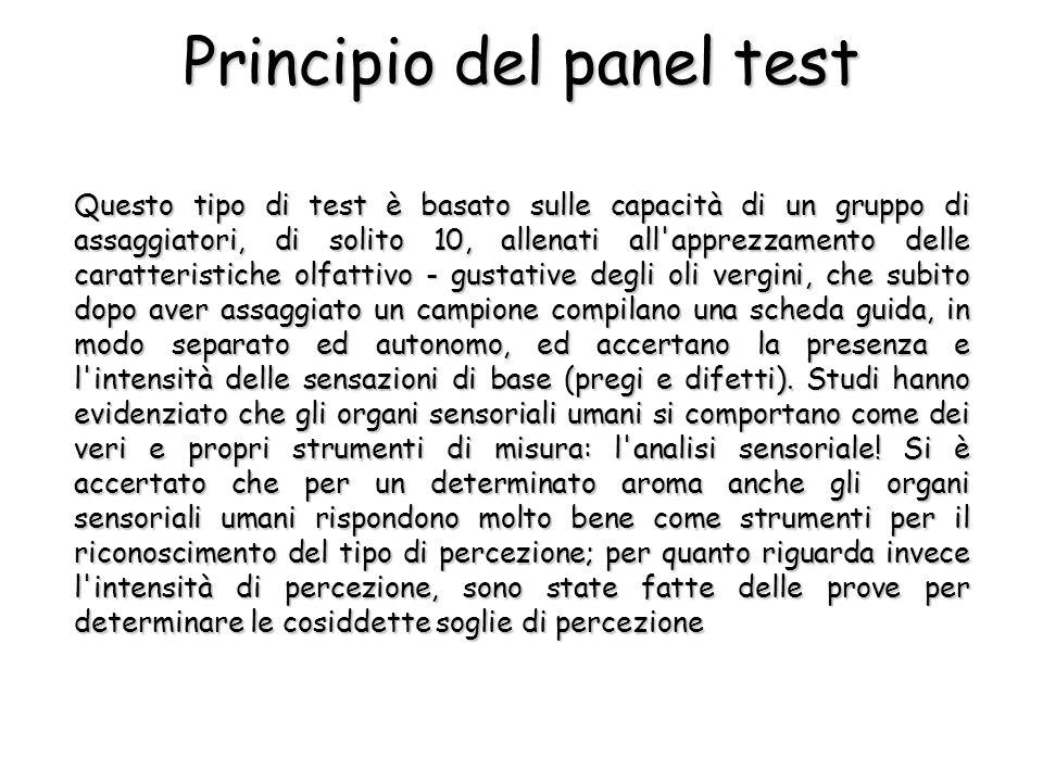 Principio del panel test Questo tipo di test è basato sulle capacità di un gruppo di assaggiatori, di solito 10, allenati all'apprezzamento delle cara