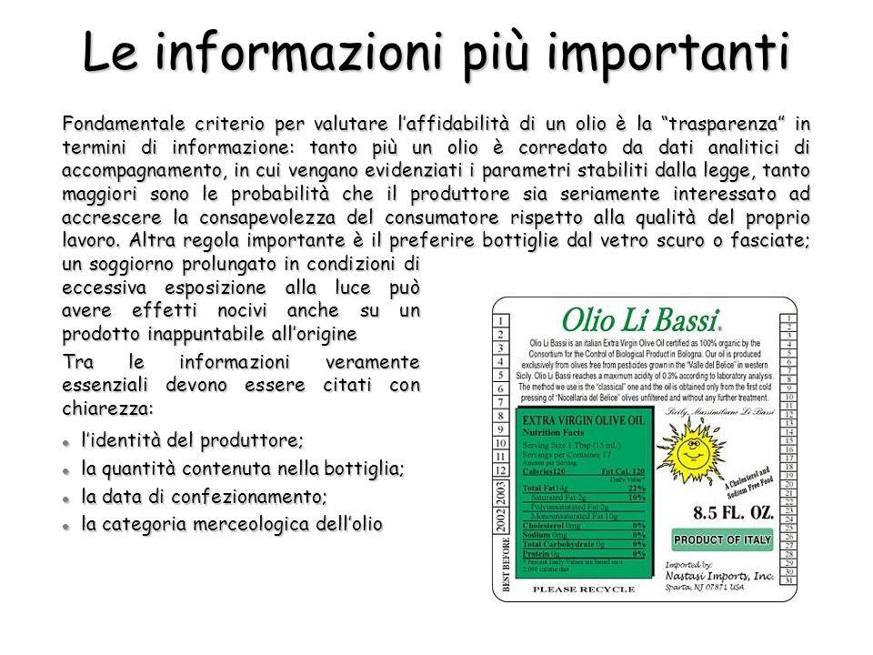 Le informazioni più importanti Fondamentale criterio per valutare laffidabilità di un olio è la trasparenza in termini di informazione: tanto più un o