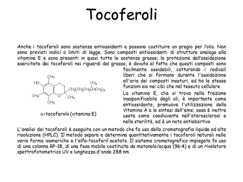 Tocoferoli Anche i tocoferoli sono sostanze antiossidanti e possono costituire un pregio per lolio. Non sono previsti indici o limiti di legge. Sono c