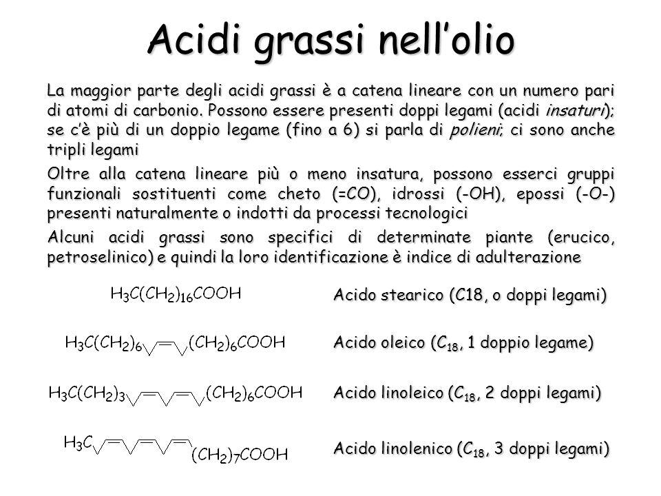 La maggior parte degli acidi grassi è a catena lineare con un numero pari di atomi di carbonio. Possono essere presenti doppi legami (acidi insaturi);