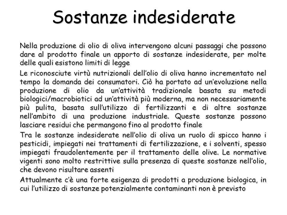 Sostanze indesiderate Nella produzione di olio di oliva intervengono alcuni passaggi che possono dare al prodotto finale un apporto di sostanze indesi