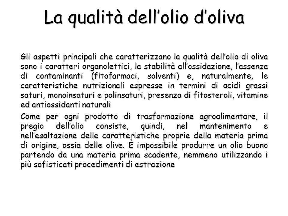 La qualità dellolio doliva Gli aspetti principali che caratterizzano la qualità dellolio di oliva sono i caratteri organolettici, la stabilità allossi