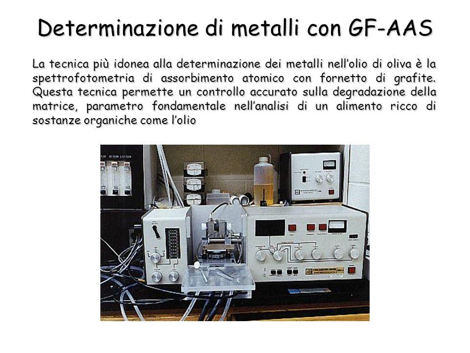 Determinazione di metalli con GF-AAS La tecnica più idonea alla determinazione dei metalli nellolio di oliva è la spettrofotometria di assorbimento at