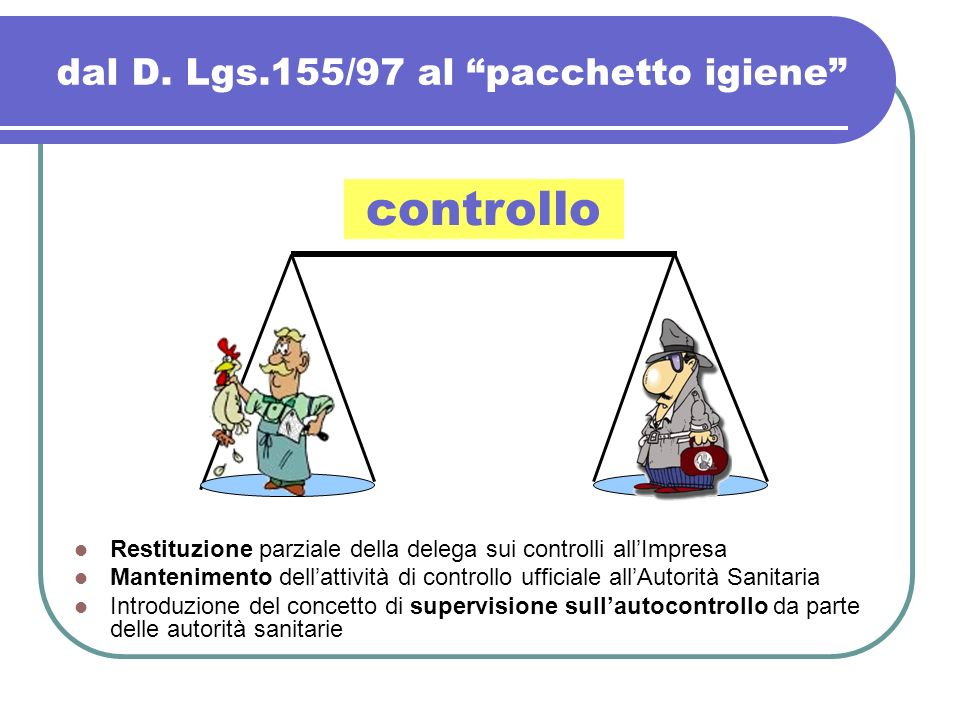 dal D. Lgs.155/97 al pacchetto igiene Restituzione parziale della delega sui controlli allImpresa Mantenimento dellattività di controllo ufficiale all