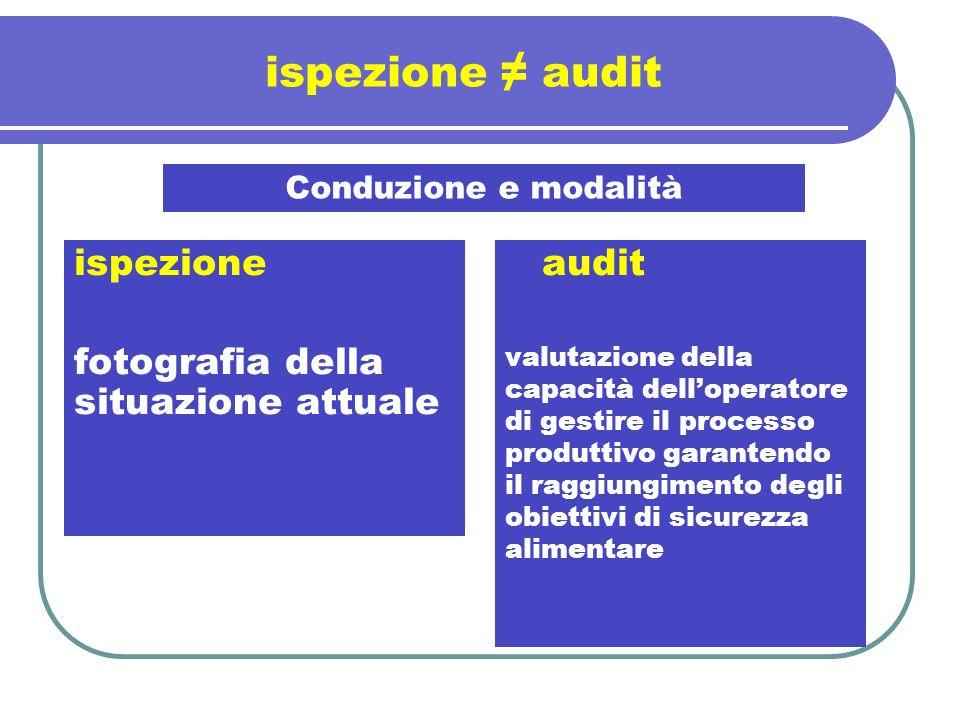 ispezione audit ispezione fotografia della situazione attuale Conduzione e modalità audit valutazione della capacità delloperatore di gestire il proce