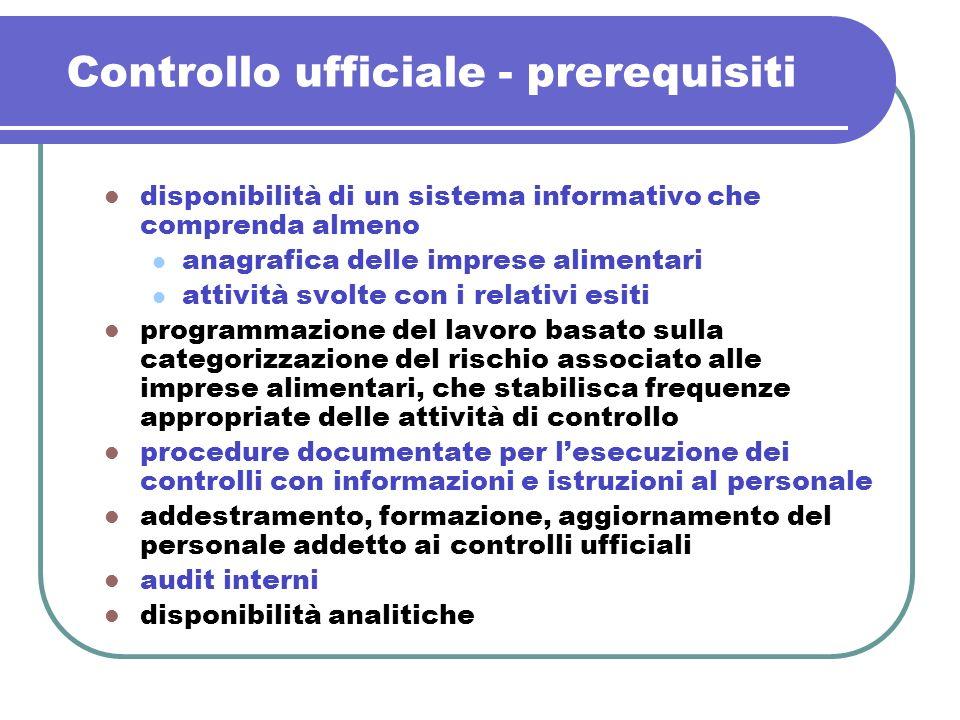 Controllo ufficiale - prerequisiti disponibilità di un sistema informativo che comprenda almeno anagrafica delle imprese alimentari attività svolte co