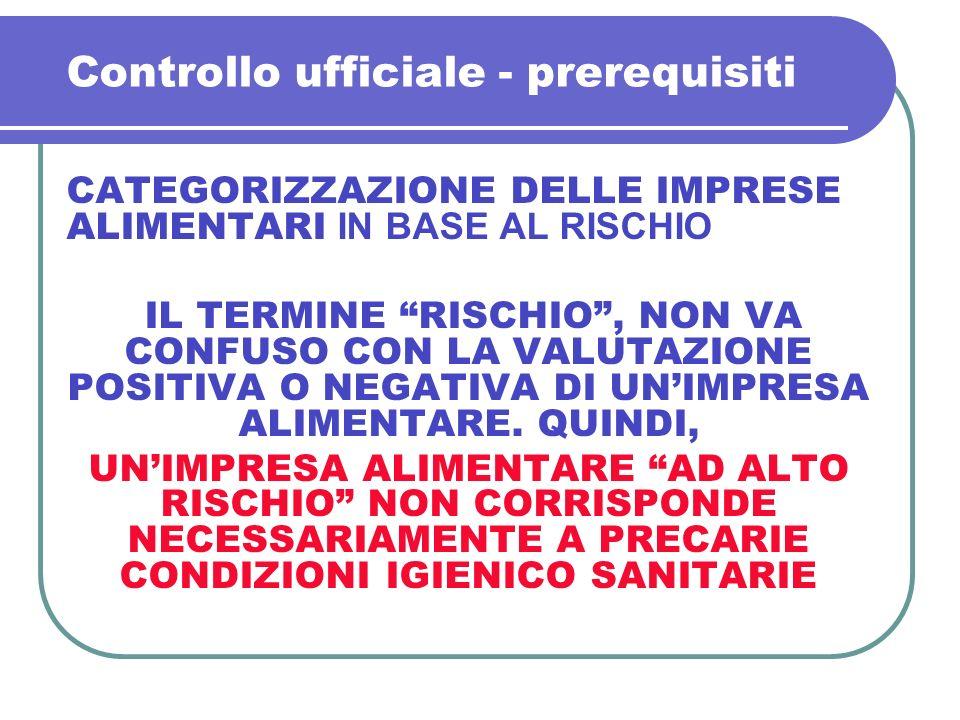Controllo ufficiale - prerequisiti CATEGORIZZAZIONE DELLE IMPRESE ALIMENTARI IN BASE AL RISCHIO IL TERMINE RISCHIO, NON VA CONFUSO CON LA VALUTAZIONE
