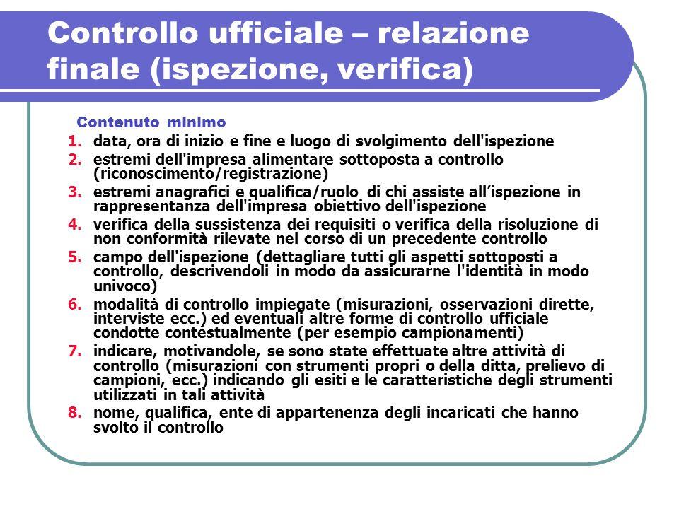 Controllo ufficiale – relazione finale (ispezione, verifica) 1.data, ora di inizio e fine e luogo di svolgimento dell'ispezione 2.estremi dell'impresa