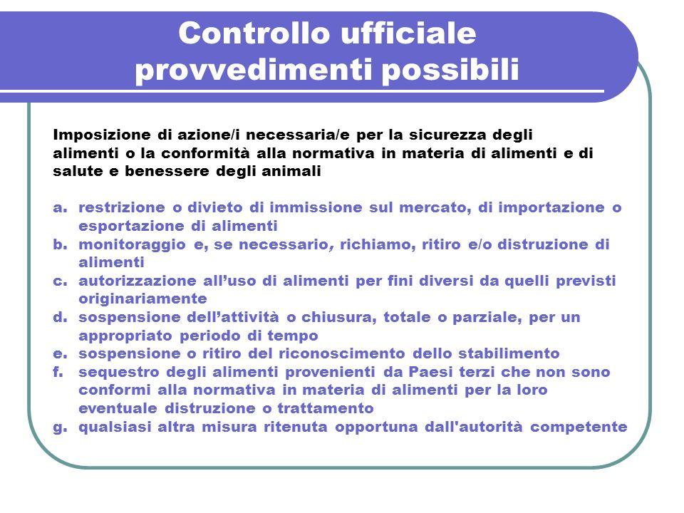 Controllo ufficiale provvedimenti possibili Imposizione di azione/i necessaria/e per la sicurezza degli alimenti o la conformità alla normativa in mat