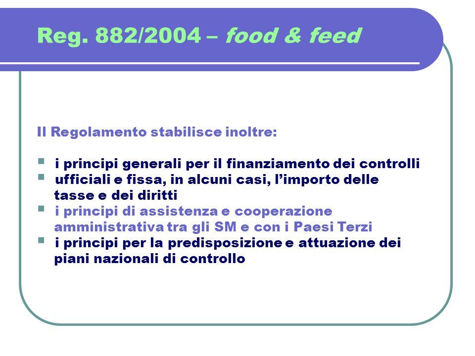 Reg. 882/2004 – food & feed Il Regolamento stabilisce inoltre: i principi generali per il finanziamento dei controlli ufficiali e fissa, in alcuni cas
