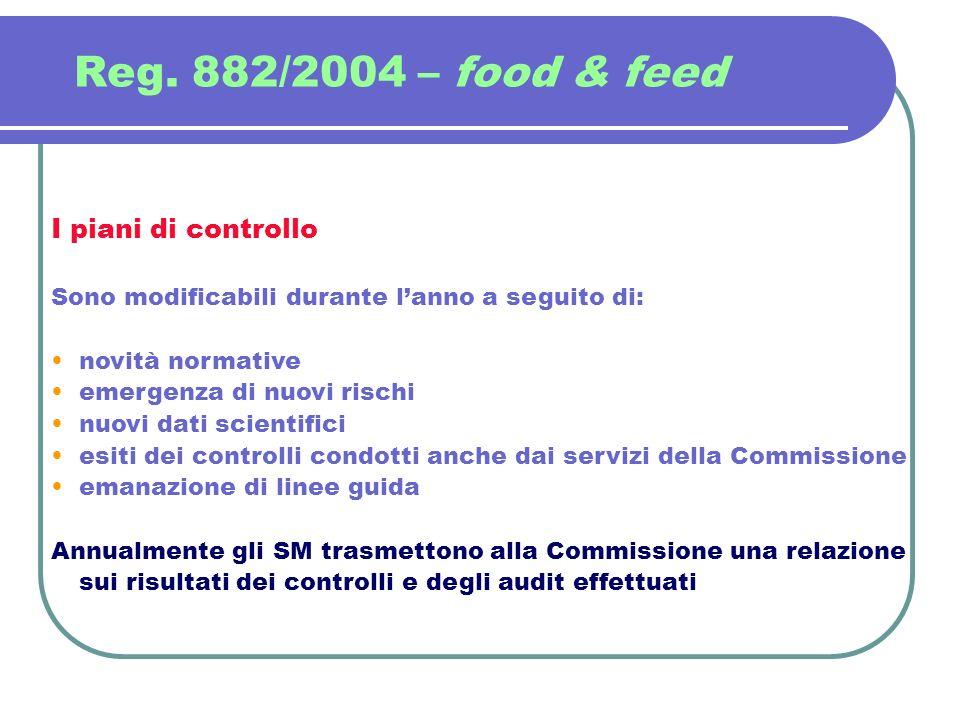 Reg. 882/2004 – food & feed I piani di controllo Sono modificabili durante lanno a seguito di: novità normative emergenza di nuovi rischi nuovi dati s