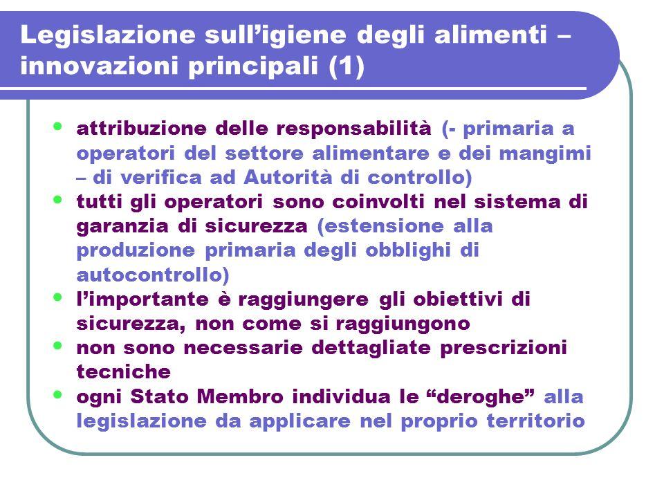 Legislazione sulligiene degli alimenti – innovazioni principali (1) attribuzione delle responsabilità (- primaria a operatori del settore alimentare e