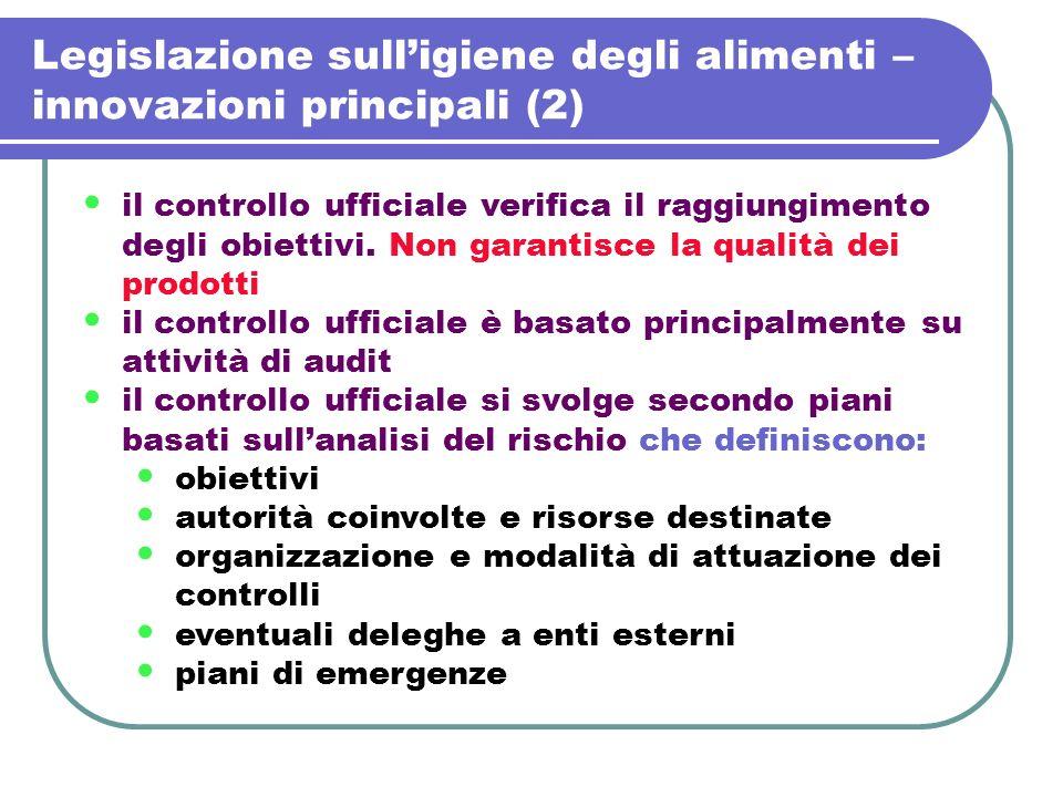 Legislazione sulligiene degli alimenti – innovazioni principali (2) il controllo ufficiale verifica il raggiungimento degli obiettivi. Non garantisce