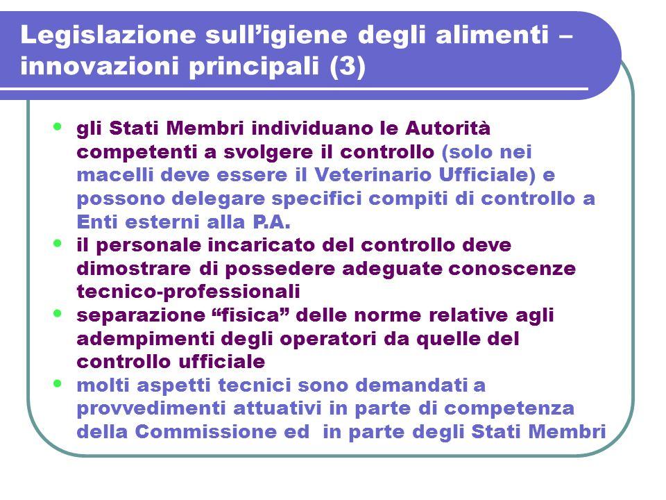 Legislazione sulligiene degli alimenti – innovazioni principali (3) gli Stati Membri individuano le Autorità competenti a svolgere il controllo (solo