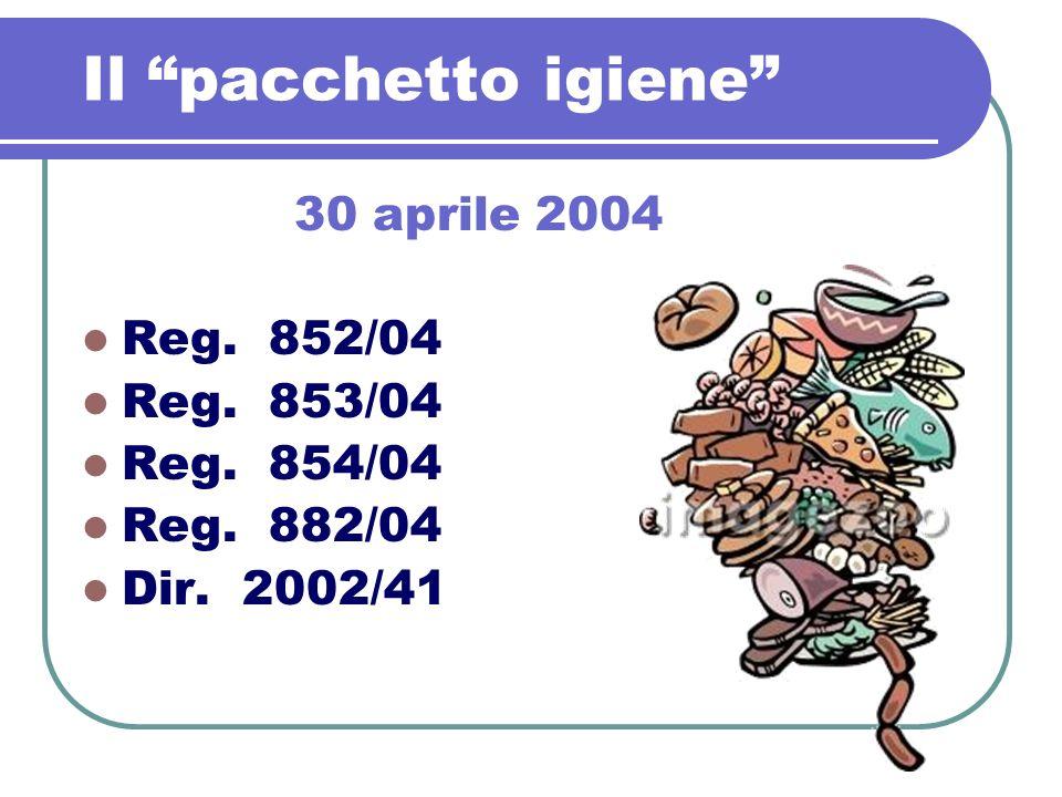 Il pacchetto igiene 30 aprile 2004 Reg. 852/04 Reg. 853/04 Reg. 854/04 Reg. 882/04 Dir. 2002/41