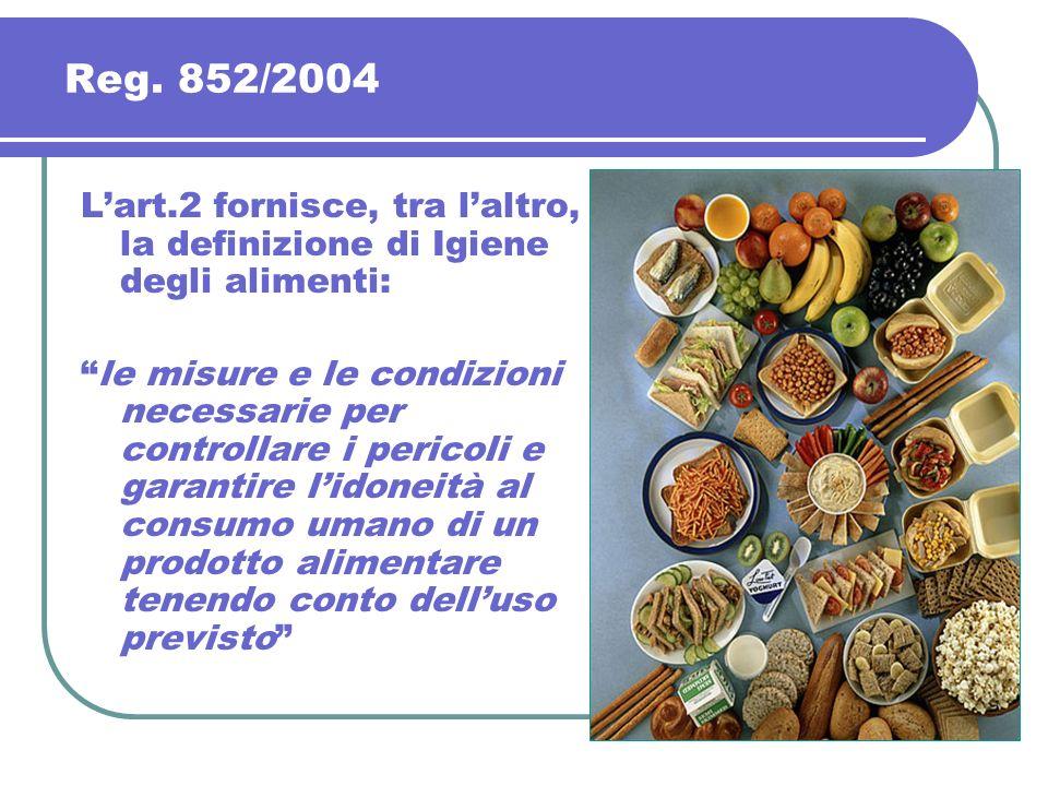 Lart.2 fornisce, tra laltro, la definizione di Igiene degli alimenti: le misure e le condizioni necessarie per controllare i pericoli e garantire lido