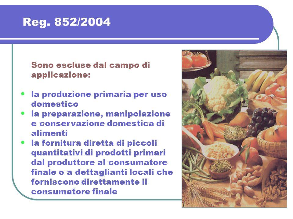 Reg. 852/2004 Sono escluse dal campo di applicazione: la produzione primaria per uso domestico la preparazione, manipolazione e conservazione domestic