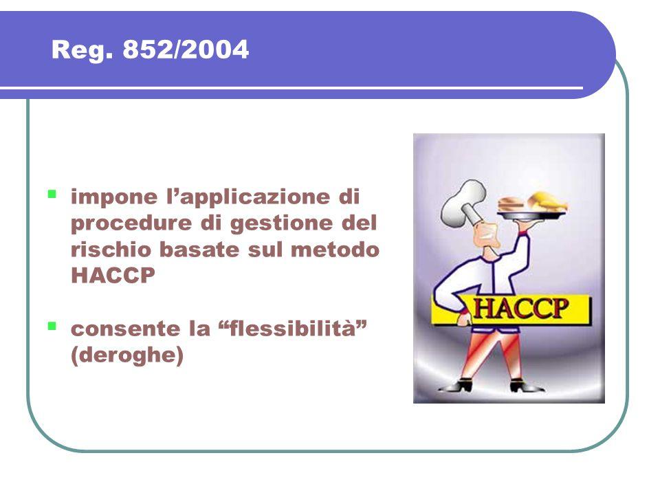 Reg. 852/2004 impone lapplicazione di procedure di gestione del rischio basate sul metodo HACCP consente la flessibilità (deroghe)
