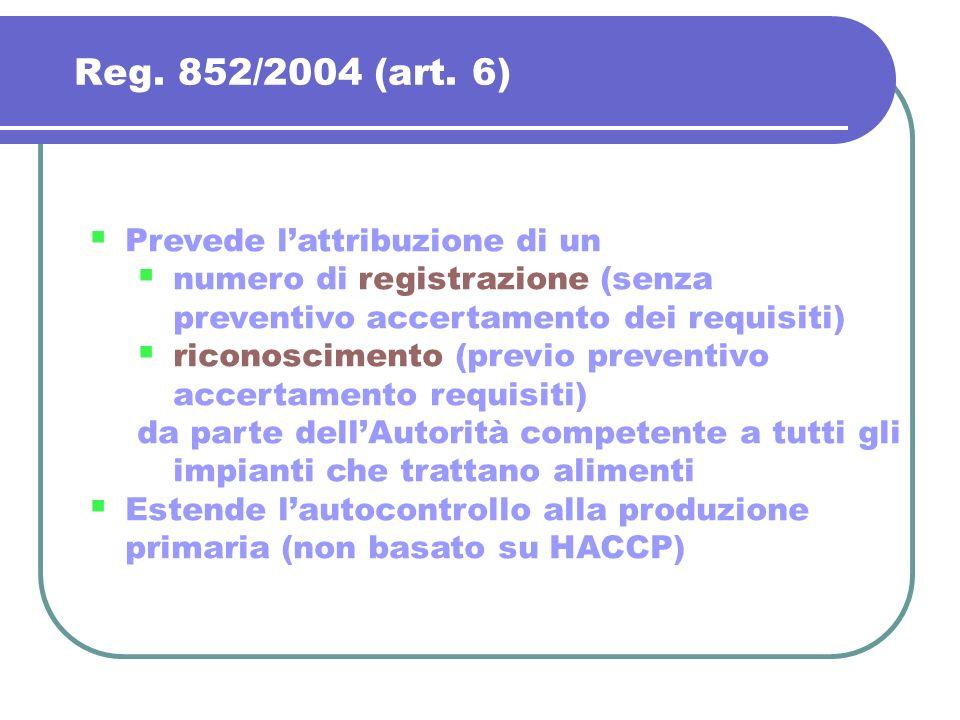 Reg. 852/2004 (art. 6) Prevede lattribuzione di un numero di registrazione (senza preventivo accertamento dei requisiti) riconoscimento (previo preven