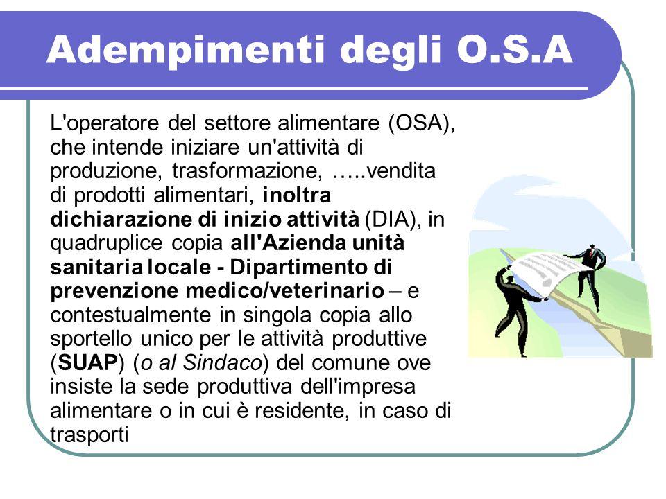 Adempimenti degli O.S.A L'operatore del settore alimentare (OSA), che intende iniziare un'attività di produzione, trasformazione, …..vendita di prodot