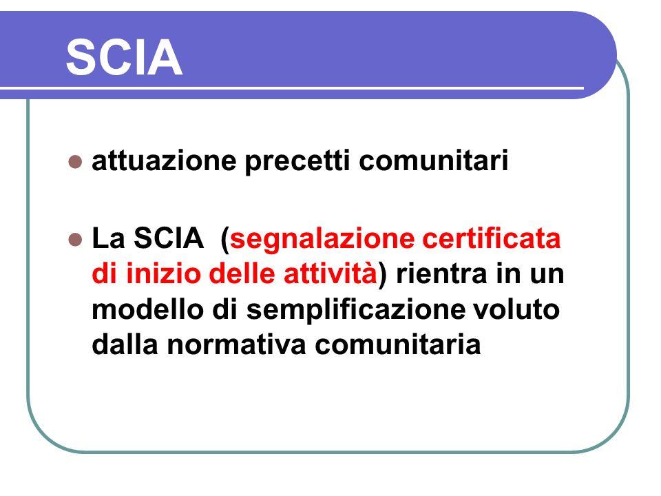 attuazione precetti comunitari La SCIA (segnalazione certificata di inizio delle attività) rientra in un modello di semplificazione voluto dalla norma