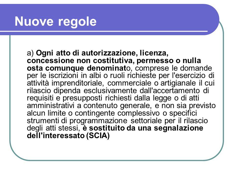 Nuove regole a) Ogni atto di autorizzazione, licenza, concessione non costitutiva, permesso o nulla osta comunque denominato, comprese le domande per