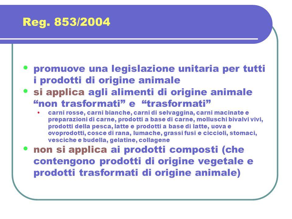 promuove una legislazione unitaria per tutti i prodotti di origine animale si applica agli alimenti di origine animale non trasformati e trasformati c