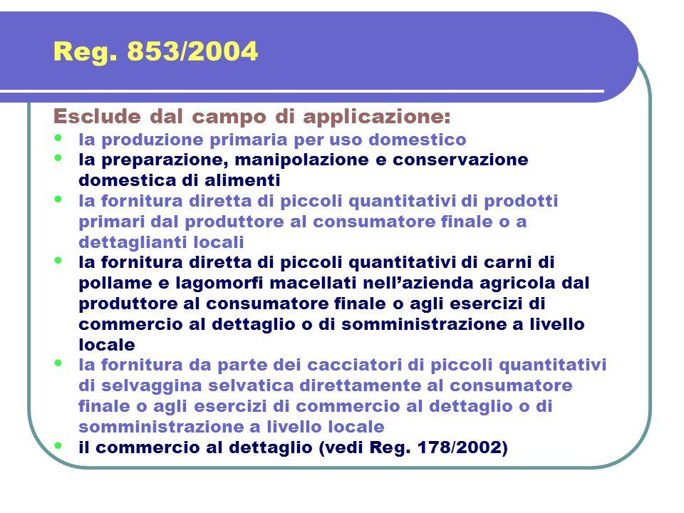 Esclude dal campo di applicazione: la produzione primaria per uso domestico la preparazione, manipolazione e conservazione domestica di alimenti la fo