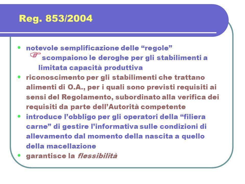 Reg. 853/2004 notevole semplificazione delle regole scompaiono le deroghe per gli stabilimenti a limitata capacità produttiva riconoscimento per gli s
