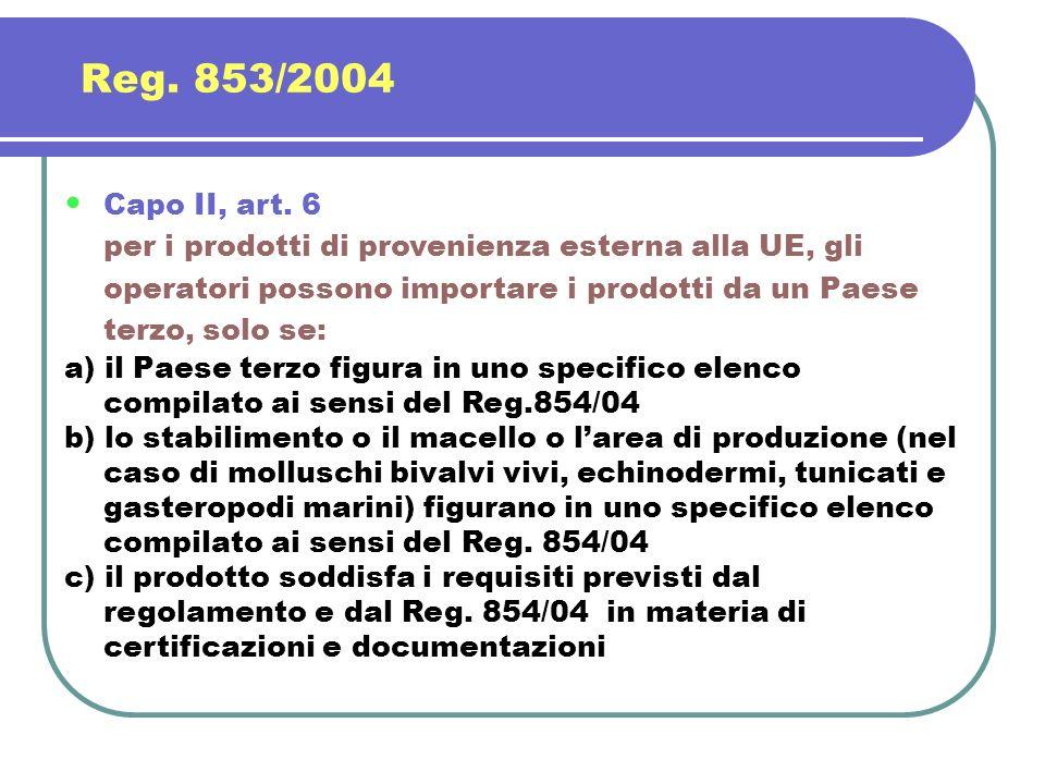 Reg. 853/2004 Capo II, art. 6 per i prodotti di provenienza esterna alla UE, gli operatori possono importare i prodotti da un Paese terzo, solo se: a)