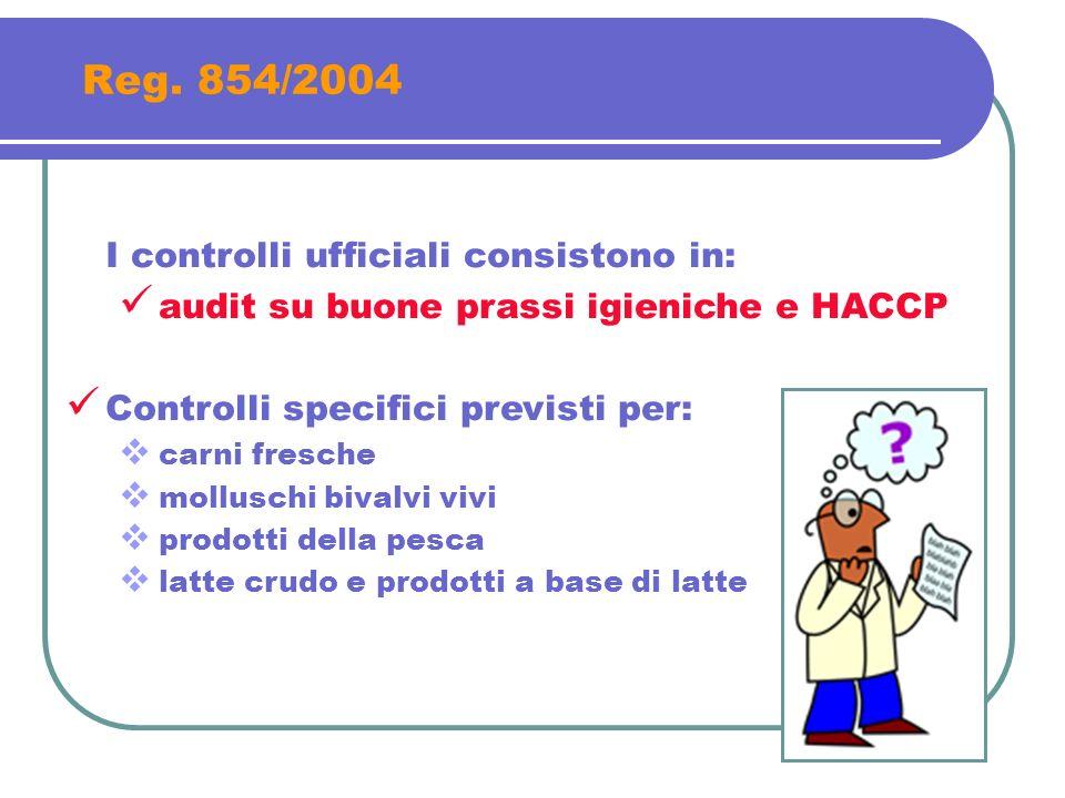 Reg. 854/2004 I controlli ufficiali consistono in: audit su buone prassi igieniche e HACCP Controlli specifici previsti per: carni fresche molluschi b
