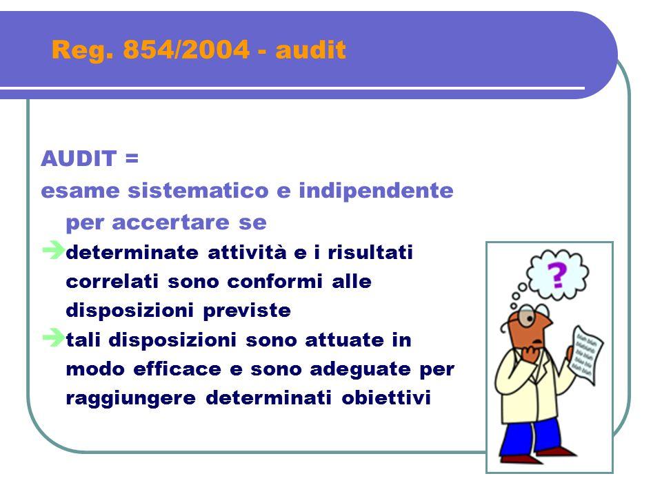 Reg. 854/2004 - audit AUDIT = esame sistematico e indipendente per accertare se determinate attività e i risultati correlati sono conformi alle dispos