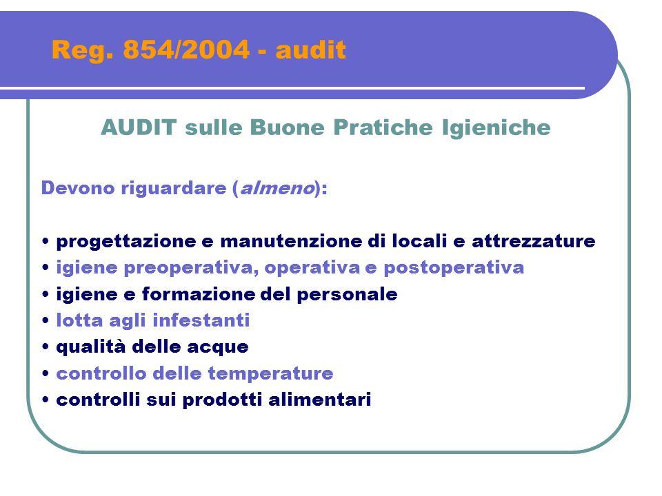 Reg. 854/2004 - audit AUDIT sulle Buone Pratiche Igieniche Devono riguardare (almeno): progettazione e manutenzione di locali e attrezzature igiene pr