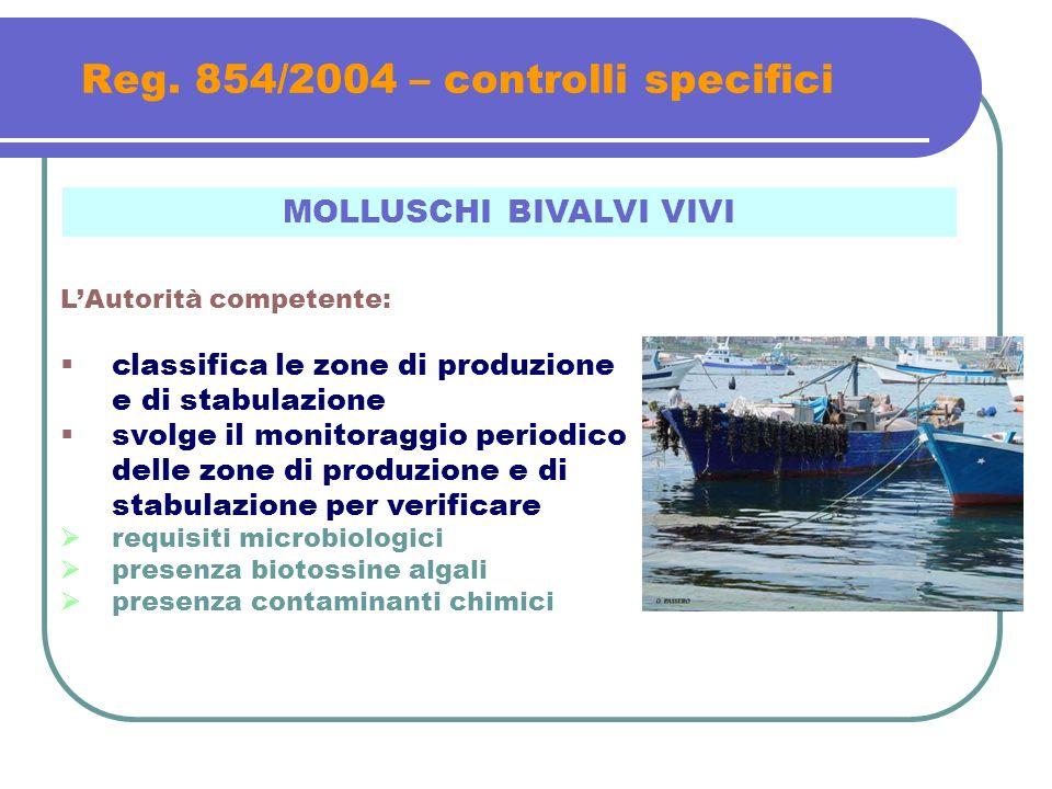 Reg. 854/2004 – controlli specifici MOLLUSCHI BIVALVI VIVI LAutorità competente: classifica le zone di produzione e di stabulazione svolge il monitora