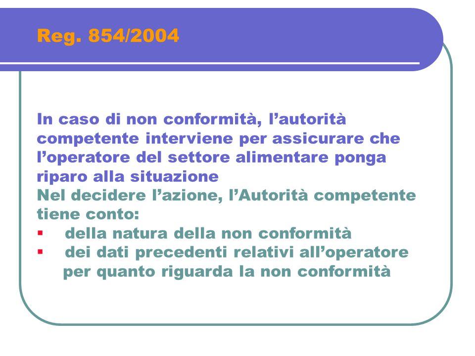 Reg. 854/2004 In caso di non conformità, lautorità competente interviene per assicurare che loperatore del settore alimentare ponga riparo alla situaz