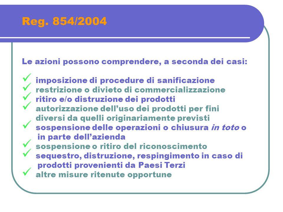Reg. 854/2004 Le azioni possono comprendere, a seconda dei casi: imposizione di procedure di sanificazione restrizione o divieto di commercializzazion