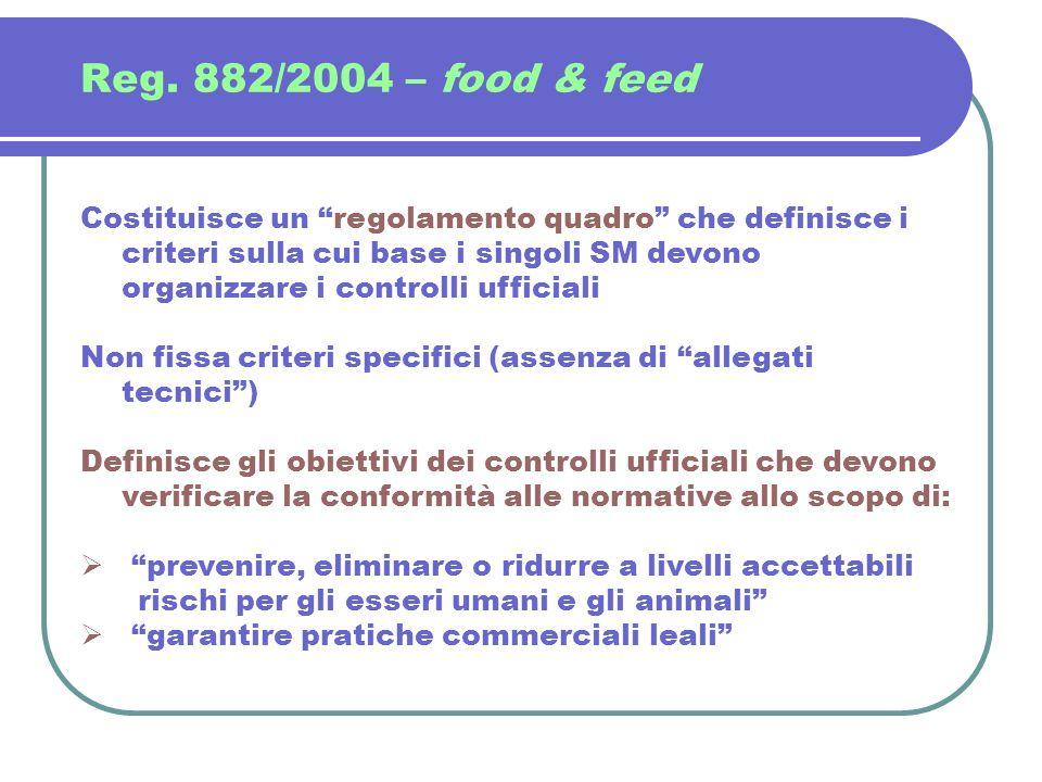 Reg. 882/2004 – food & feed Costituisce un regolamento quadro che definisce i criteri sulla cui base i singoli SM devono organizzare i controlli uffic