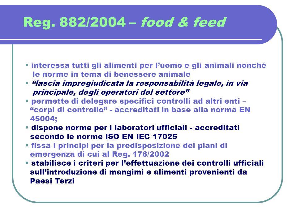 Reg. 882/2004 – food & feed interessa tutti gli alimenti per luomo e gli animali nonché le norme in tema di benessere animale lascia impregiudicata la