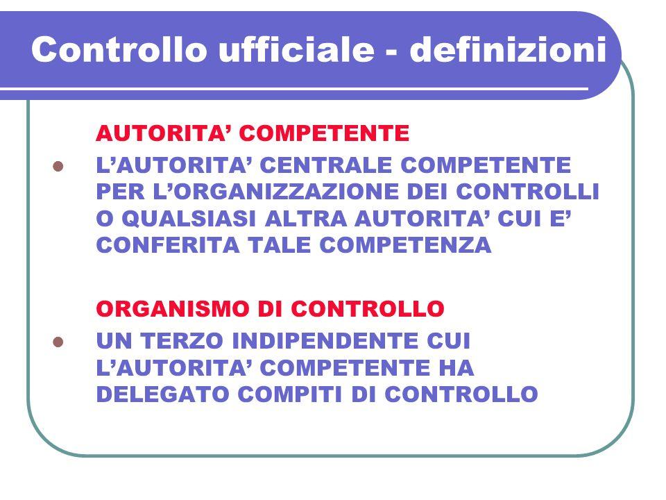 Controllo ufficiale - definizioni AUTORITA COMPETENTE LAUTORITA CENTRALE COMPETENTE PER LORGANIZZAZIONE DEI CONTROLLI O QUALSIASI ALTRA AUTORITA CUI E