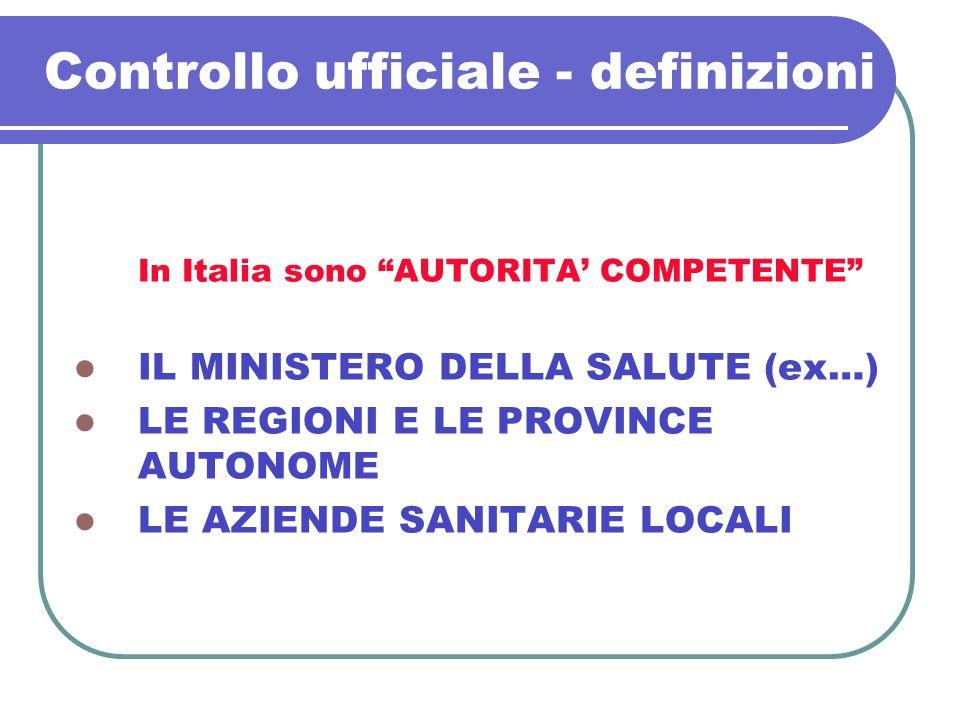 Controllo ufficiale - definizioni In Italia sono AUTORITA COMPETENTE IL MINISTERO DELLA SALUTE (ex…) LE REGIONI E LE PROVINCE AUTONOME LE AZIENDE SANI