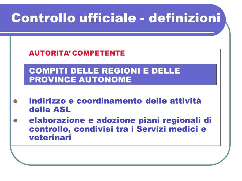 Controllo ufficiale - definizioni AUTORITA COMPETENTE COMPITI DELLE REGIONI E DELLE PROVINCE AUTONOME indirizzo e coordinamento delle attività delle A