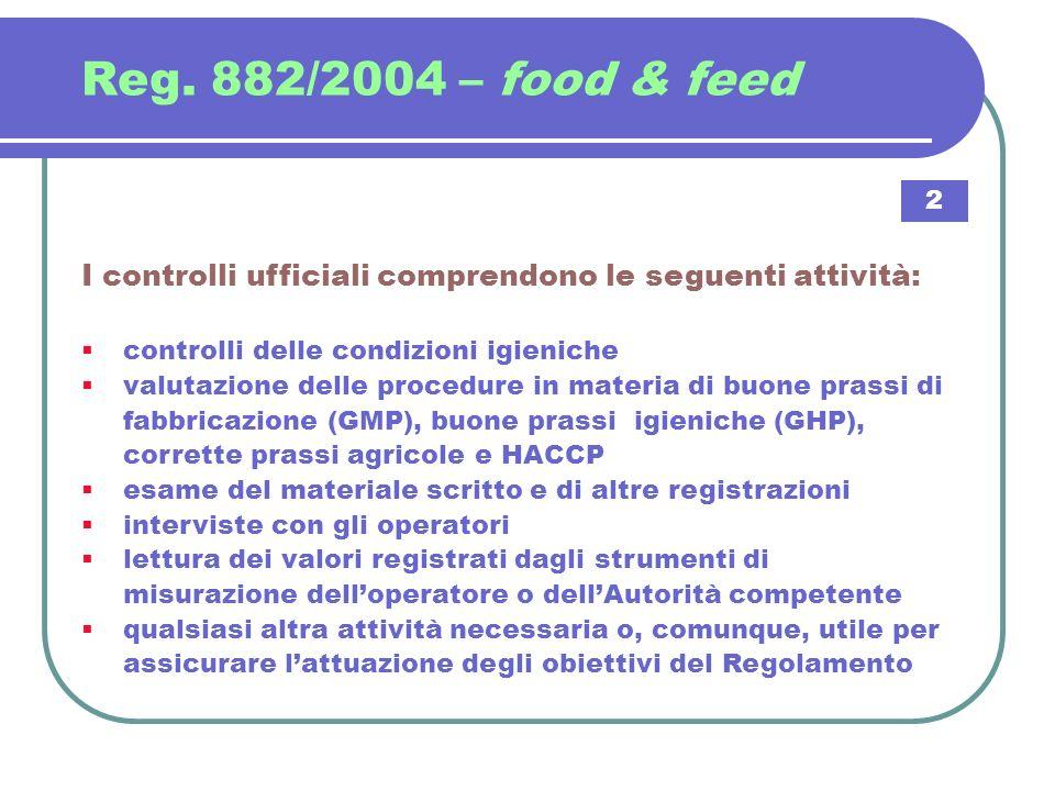 Reg. 882/2004 – food & feed I controlli ufficiali comprendono le seguenti attività: controlli delle condizioni igieniche valutazione delle procedure i
