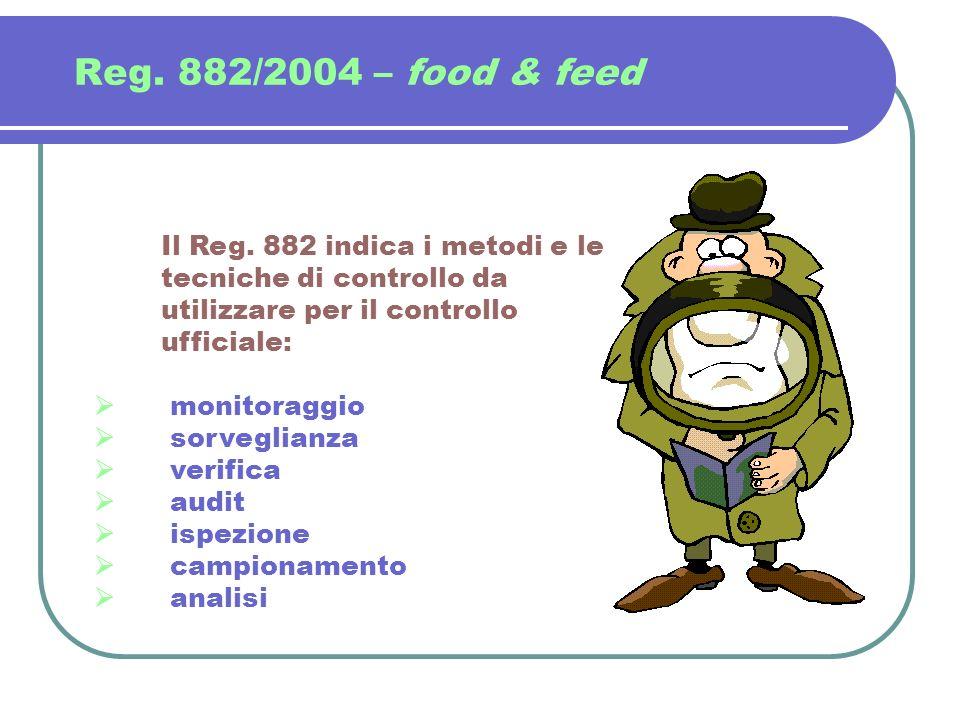 Reg. 882/2004 – food & feed Il Reg. 882 indica i metodi e le tecniche di controllo da utilizzare per il controllo ufficiale: monitoraggio sorveglianza